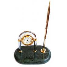 купить Набор настольный мрамор (хромированные часы + ручка) (ST_1646)