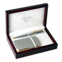 купить Набор Verdie в деревянном футляре (ручка + визитница серая/золотистая) (VE_6_GS)