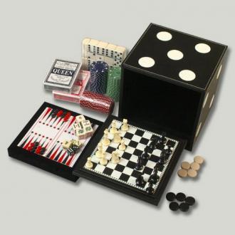 купить Набор из 6 игр: 2 колоды карт, шахматы, шашки, нарды, домино, кости и фишки (DBT16104)
