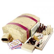 купить Набор в сундуке - шахматы, шашки, нарды, домино, кости, карты, крибидж (7 игр) (75116)