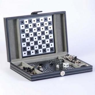 купить Дорожный игровой набор 3 в 1, в кожаном кейсе: шахматы, шашки, нарды (SG1150)