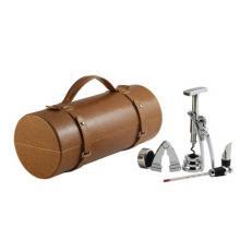 Винный набор коричневого цвета с местом для вина: штопор, термометр, резак, кольцо, винонаполнитель. (LCB-BB(5PC-08A)